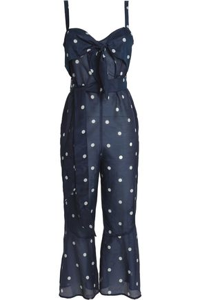 NICHOLAS Cropped knotted printed cotton and silk-blend jumpsuit