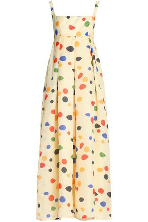 EMILIA WICKSTEAD Cutout pleated printed silk-gazar maxi dress