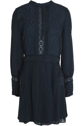 HAUTE HIPPIE Lace-paneled pintucked silk-crepe mini dress