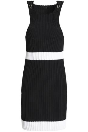 CALVIN KLEIN COLLECTION Two-tone ribbed-knit mini dress