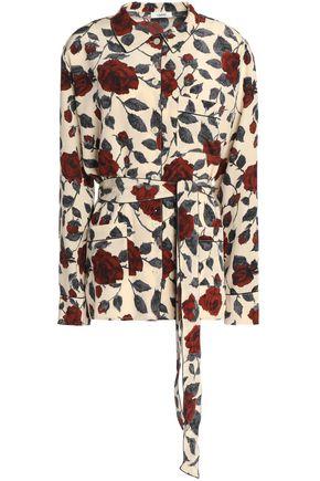 GANNI Belted floral-print silk crepe de chine top