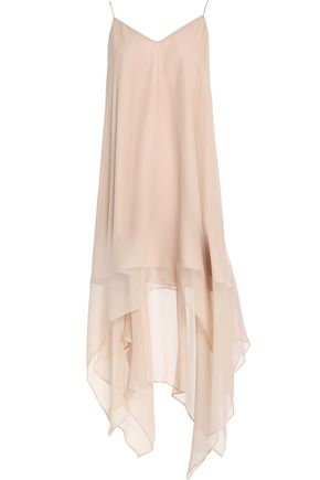 HAUTE HIPPIE Asymmetric draped silk-chiffon midi dress