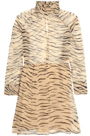 GANNI Pleated zebra-print georgette mini dress