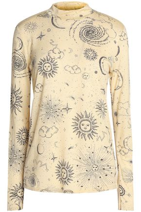 GANNI Printed jersey top