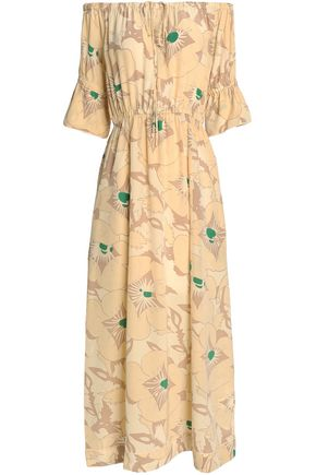 GANNI Off-the-shoulder gathered printed silk maxi dress