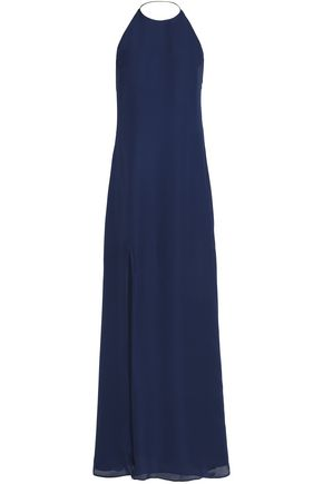 HAUTE HIPPIE Fluted silk-crepe halterneck maxi dress