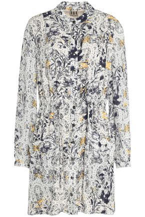 HAUTE HIPPIE Gathered floral-print silk-crepe shirt dress