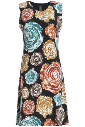 NORMA KAMALI Fluted floral-print neoprene dress