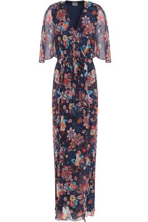 HAUTE HIPPIE Wrap-effect floral-print silk-georgette maxi dress