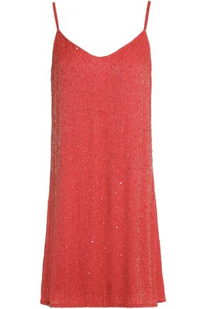 HAUTE HIPPIE Sequin-embellished beaded silk mini dress