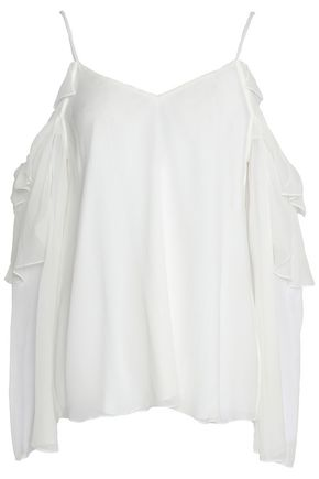 HAUTE HIPPIE Cold-shoulder ruffled silk-georgette top