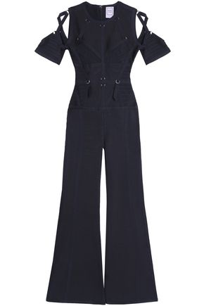 HERVÉ LÉGER Cold-shoulder embellished bandage jumpsuit
