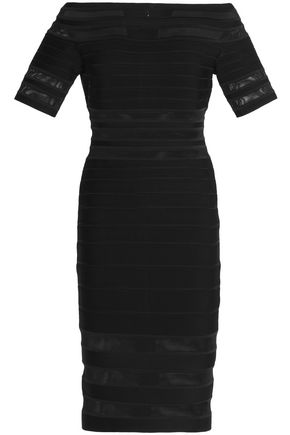 HERVÉ LÉGER BY MAX AZRIA Off-the-shoulder mesh-paneled bandage dress