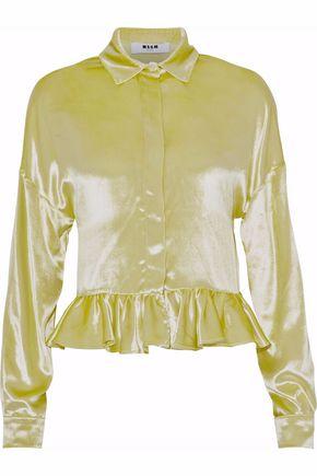 MSGM Ruffled velvet peplum shirt