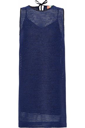 MSGM Metallic open-knit mini dress