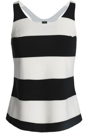 NORMA KAMALI Striped stretch-jersey tank
