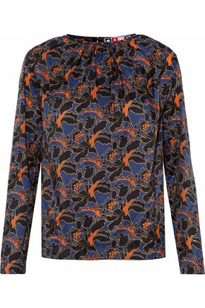 MSGM Gathered printed crepe de chine top