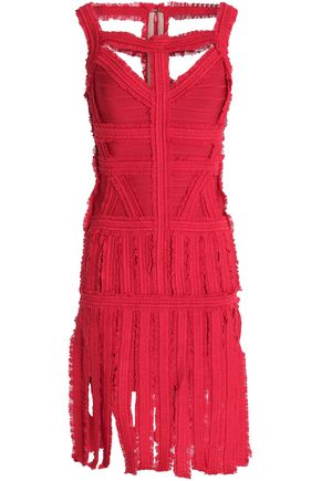 HERVÉ LÉGER BY MAX AZRIA Fringed ruffled bandage dress