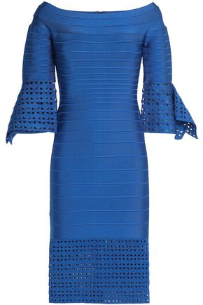 HERVÉ LÉGER BY MAX AZRIA Off-the-shoulder paneled laser-cut bandage dress