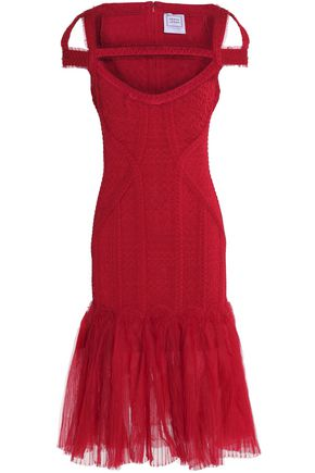HERVÉ LÉGER BY MAX AZRIA Cutout ruffled tulle and bandage-cloqué dress