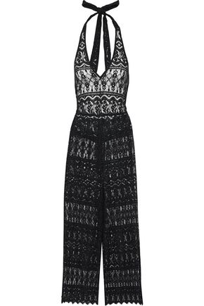 ALICE+OLIVIA Cropped cotton-blend lace halterneck jumpsuit