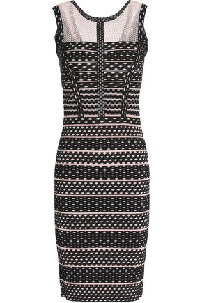 HERVÉ LÉGER BY MAX AZRIA Mesh-paneled two-tone bandage-jacquard dress