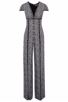 ALICE + OLIVIA Lace-trimmed floral-print gauze jumpsuit