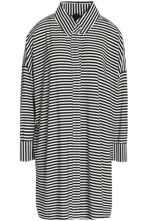 NORMA KAMALI Striped stretch-jersey shirt dress
