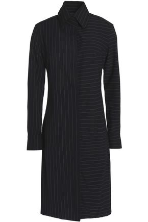 NORMA KAMALI Paneled pinstriped stretch-crepe shirt dress
