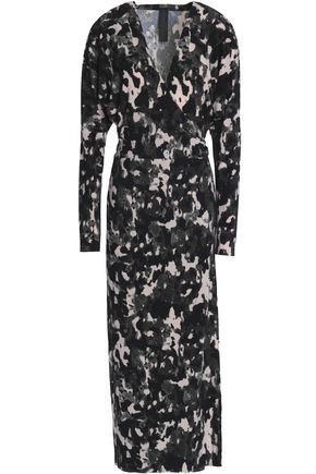 NORMA KAMALI Printed stretch-jersey wrap midi dress