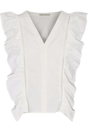 ALICE + OLIVIA Crochet-trimmed ruffled cotton-blend poplin top