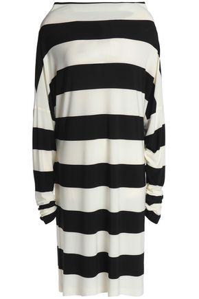 NORMA KAMALI One-shoulder striped stretch-knit dress
