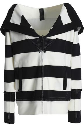 NORMA KAMALI Striped stretch-knit hooded sweatshirt