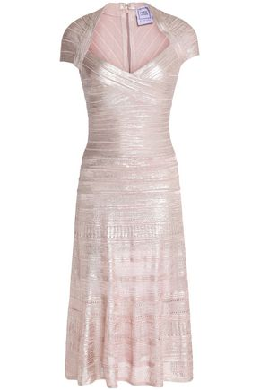 HERVÉ LÉGER Pleated metallic bandage dress
