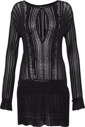 ROBERTO CAVALLI Ruffled plissé-paneled knit mini dress