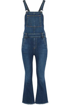 RAG & BONE/JEAN Cropped frayed denim overalls