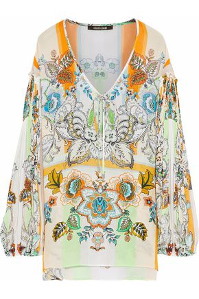 ROBERTO CAVALLI Printed silk-crepe blouse