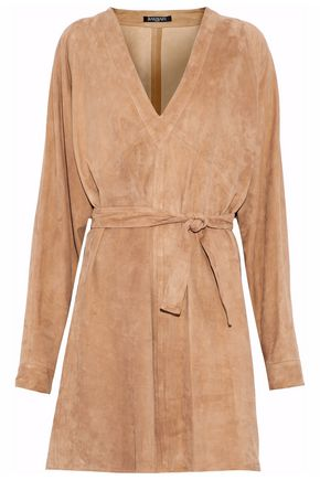 BALMAIN Belted suede mini dress