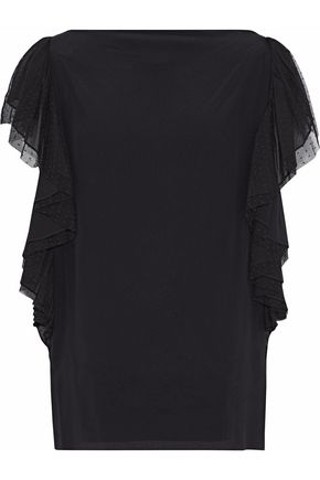 ROBERTO CAVALLI Point d'Esprit lace ruffle-trimmed silk-jersey top