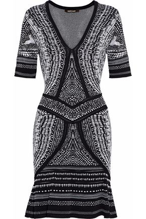 ROBERTO CAVALLI Metallic ruffled jacquard-knit dress