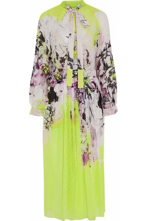 ROBERTO CAVALLI Pussy-bow neon printed fil coupé silk-georgette midi dress