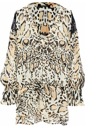 ROBERTO CAVALLI Gathered lace-paneled leopard-print silk-georgette blouse