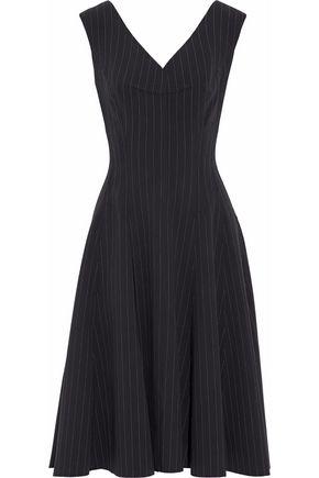 NORMA KAMALI Pleated striped cady dress
