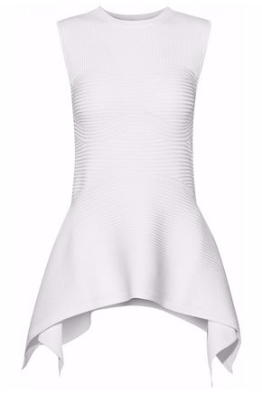 CUSHNIE ET OCHS Asymmetric ribbed-knit peplum top