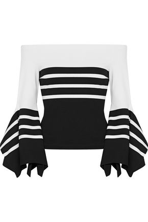 ROSETTA GETTY Off-the-shoulder striped intarsia-knit top