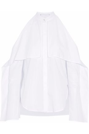 ROSETTA GETTY Cold-shoulder draped cotton-poplin blouse