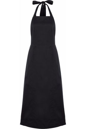 ROSETTA GETTY Cotton-blend halterneck midi dress