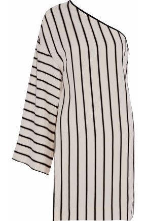 ROSETTA GETTY One-shoulder striped twill mini dress
