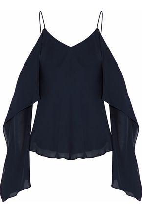 ROSETTA GETTY Cold-shoulder ruffled silk crepe de chine top
