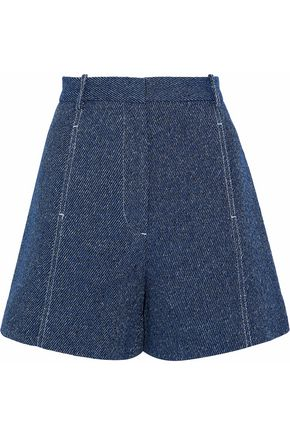 ROSETTA GETTY Cotton and linen-blend tweed shorts